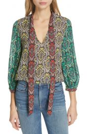 Alice   Olivia Sheila Tie Neck Top   Nordstrom at Nordstrom