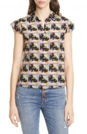 Alice   Olivia Willa Flutter Sleeve Silk Top   Nordstrom at Nordstrom