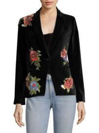 Alice + Olivia Hix Embellished Velvet Blazer at Saks Fifth Avenue