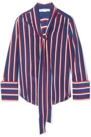 Alice   Olivia   Arie pussy-bow striped silk blouse at Net A Porter