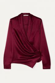 Alice   Olivia - Aurora gathered satin wrap blouse at Net A Porter