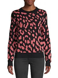 Alice   Olivia - Chia Leopard Print Wool Knit Sweater at Saks Off 5th