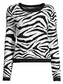 Alice   Olivia - Connie Embellished Stretch-Wool Zebra Sweater at Saks Fifth Avenue