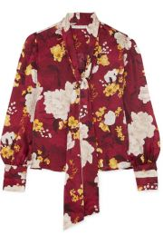 Alice   Olivia - Crogan floral-print hammered silk-satin blouse at Net A Porter