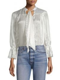 Alice   Olivia - Danika Tie-Neck Stripe Blouse at Saks Fifth Avenue