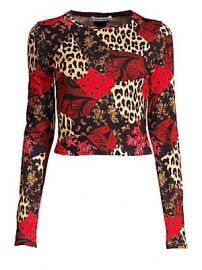 Alice   Olivia - Delaina Floral  amp  Leopard Patchwork Top at Saks Fifth Avenue