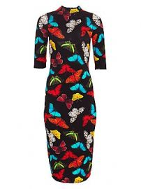 Alice   Olivia - Delora Fitted Butterfly-Print Dress at Saks Fifth Avenue