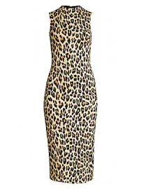 Alice   Olivia - Delora Leopard Sleeveless Bodycon Dress at Saks Fifth Avenue