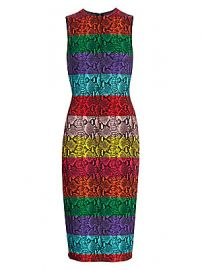 Alice   Olivia - Delora Snake Print Stripe Sheath Dress at Saks Fifth Avenue