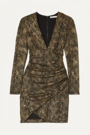 Alice   Olivia - Diaz ruched metallic snake-print crepe mini dress at Net A Porter