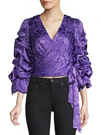 Alice   Olivia - Dominica Silk-Blend Puff-Sleeve Wrap Top at Saks Off 5th