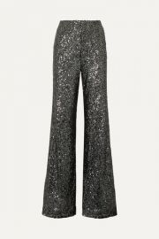 Alice   Olivia - Dylan sequined tulle wide-leg pants at Net A Porter