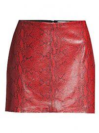 Alice   Olivia - Elana Snakeskin-Print Leather Mini Skirt at Saks Fifth Avenue