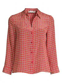 Alice   Olivia - Eloise Printed Button-Down Blouse at Saks Fifth Avenue
