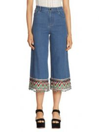 Alice   Olivia - Embroidered Cropped Jeans at Saks Off 5th