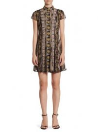 Alice   Olivia - Gwyneth High Neck Floral A-Line Dress at Saks Fifth Avenue