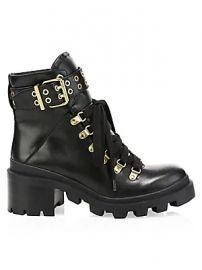 Alice   Olivia - Havis Leather Chunky Combat Boots at Saks Fifth Avenue