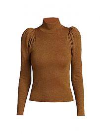 Alice   Olivia - Issa Glitter Puff-Sleeve Turtleneck Sweater at Saks Fifth Avenue