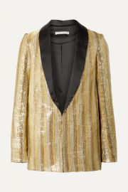 Alice   Olivia - Jace oversized satin-trimmed sequined cotton blazer at Net A Porter