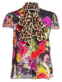 Alice   Olivia - Jeanie Floral  amp  Leopard Print Silk Blend Blouse at Saks Fifth Avenue