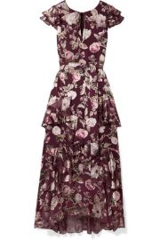 Alice   Olivia - Jenny tiered floral-print fil coup   chiffon maxi dress at Net A Porter