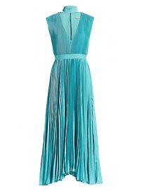 Alice   Olivia - Joleen Pleated V-Neck Midi Dress at Saks Fifth Avenue