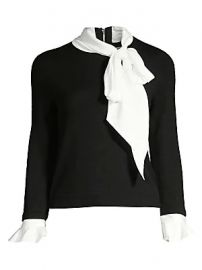 Alice   Olivia - Justina Tieneck Wool  amp  Stretch Silk Combo Sweater at Saks Fifth Avenue