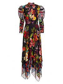 Alice   Olivia - Karen Floral Puff Sleeve Handkerchief Midi Dress at Saks Fifth Avenue