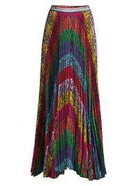 Alice   Olivia - Katz Ribbon Stripe Pleated Skirt at Saks Fifth Avenue