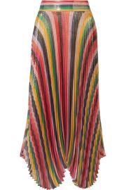 Alice   Olivia   Katz pleated metallic silk-blend lam   skirt at Net A Porter