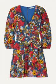 Alice   Olivia - Kerri floral-print silk crepe de chine wrap-effect mini dress at Net A Porter