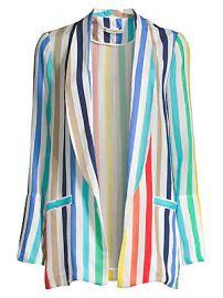 Alice   Olivia - Kylie Rainbow Stripe Shawl Collar Jacket at Saks Fifth Avenue
