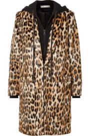 Alice   Olivia - Kylie leopard-print faux fur and cotton-jersey coat at Net A Porter