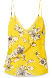 Alice   Olivia - Lavonia ruffled floral-print silk crepe de chine camisole at Net A Porter
