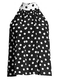 Alice   Olivia - Liana Bow-Back Dotted Blouse at Saks Fifth Avenue
