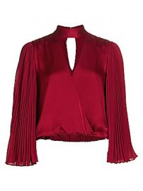 Alice   Olivia - Luba Pleated-Sleeve Crop Top at Saks Fifth Avenue