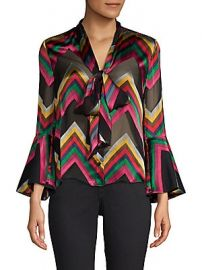 Alice   Olivia - Meredith Printed Tie-Neck Bell-Sleeve Blouse at Saks Off 5th