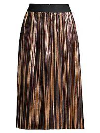 Alice   Olivia - Mikaela Metallic Pleated Midi Skirt at Saks Fifth Avenue