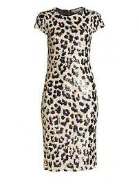 Alice   Olivia - Nat Leopard Print Sequin Dress at Saks Fifth Avenue
