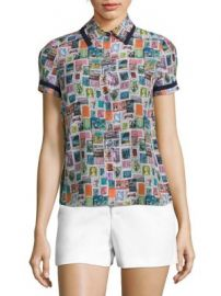 Alice   Olivia - Oswald Printed Silk Shirt at Saks Fifth Avenue
