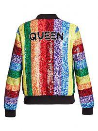Alice   Olivia - Queen Sequin Rainbow Bomber Jacket at Saks Fifth Avenue