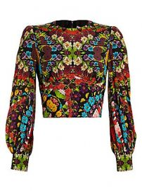 Alice   Olivia - Quilla Floral Silk Crop Blouse at Saks Fifth Avenue