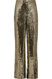 Alice   Olivia   Racquel sequined satin wide-leg pants at Net A Porter