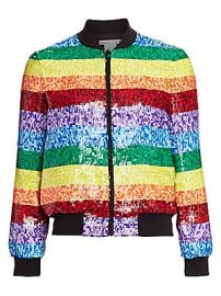 Alice   Olivia - Rainbow Sequin Bomber Jacket at Saks Fifth Avenue