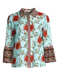 Alice   Olivia - Rana Floral Ruffle Sleeve Blouse at Saks Fifth Avenue
