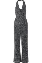 Alice   Olivia - Salem draped crystal-embellished stretch-crepe halterneck jumpsuit at Net A Porter