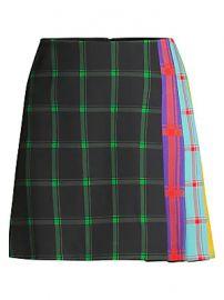 Alice   Olivia - Semira Multicolor Side-Pleat Plaid Mini A-Line Skirt at Saks Fifth Avenue