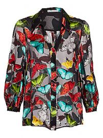 Alice   Olivia - Sheila Butterfly Print Blouson Blouse at Saks Fifth Avenue