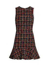 Alice   Olivia - Sonny Flounce Hem Tweed Dress at Saks Fifth Avenue