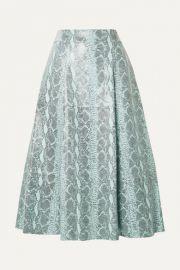 Alice   Olivia - Sosie snake-print leather midi skirt at Net A Porter